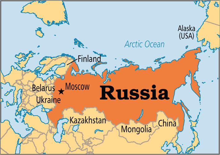 نقشه کشور روسیه
